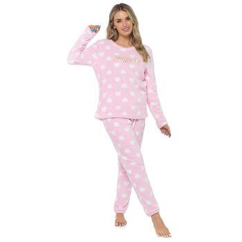 LN1404, Ladies Fleece Heart Print Twosie - Pink £11.95.  pk24...