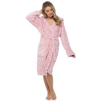 LN1435, Ladies Heart Embossed Hooded Robe - Pink £13.50.   pk12...