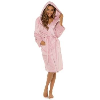 LN1438, Ladies Cuff Detail Hooded Robe - Pink £13.95.   pk12...
