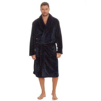 31B404, Mens Plush Fleece Shawl Collar Robe - Navy £12.95.  pk18...