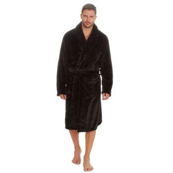31B402, Mens Plush Fleece Shawl Collar Robe - Black £12.95.  pk18...