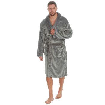 31B406, Mens Plush Fleece Shawl Collar Robe - Grey £12.95.  pk18...