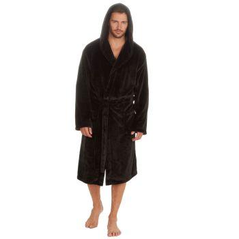 31B408, Mens Plush Fleece Hooded Robe - Black £13.25.  pk18...