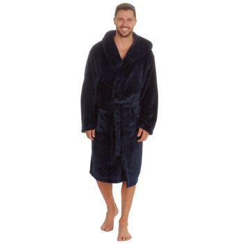31B410, Mens Plush Fleece Hooded Robe - Navy £13.25.  pk18...