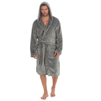 31B412, Mens Plush Fleece Hooded Robe - Grey £13.25.  pk18...