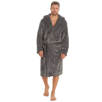 31B1485, Mens Plush Fleece Robe - Grey £12.95.  pk12...