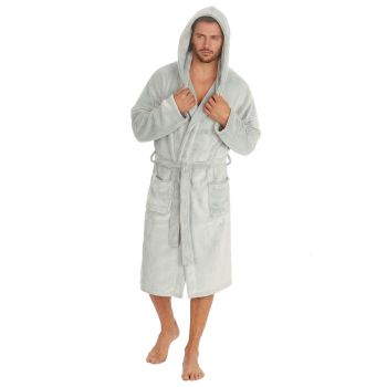 31B1487, Mens Frosted Plush Fleece Hooded Robe £12.95.  pk12...