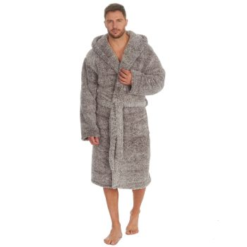 31B1488, Mens Frosted Sherpa Fleece Hooded Dressing Gown - Grey £13.95.  pk12...