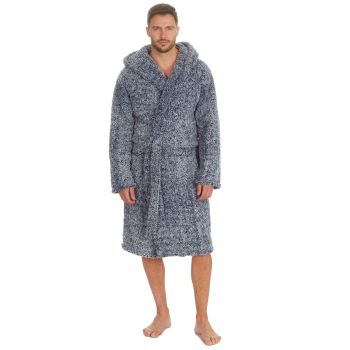 31B1489, Mens Frosted Sherpa Fleece Hooded Dressing Gown - Navy £13.95.  pk12...