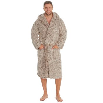 31B1490, Mens Frosted Sherpa Fleece Hooded Dressing Gown - Camel £13.95.  pk12...