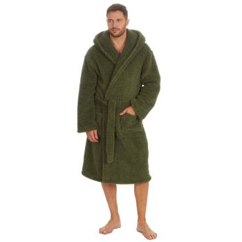 31B1533, Mens Borg Fleece Hooded Dressing Gown - Olive £13.75.  pk12...