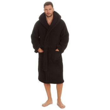 31B1631, Mens Borg Fleece Hooded Dressing Gown - Black £13.75.  pk12...