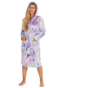 34B1720. Ladies Plush Fleece Tie Dye Robe £12.25.   pk12...