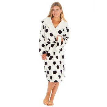 34B1690. Ladies Spot Print Flannel Fleece Hooded Gown £12.25.   pk12...