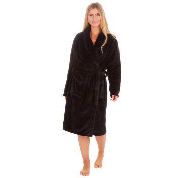 34B1677. Ladies Plush Fleece Shawl Collar Robe- Black £12.25.   pk18...