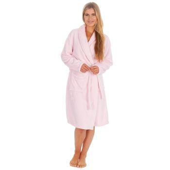34B1678. Ladies Plush Fleece Shawl Collar Robe- Pink £12.25.   pk18...