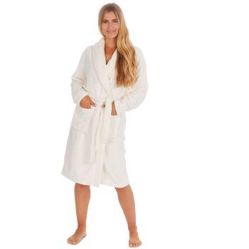 34B1679. Ladies Plush Fleece Shawl Collar Robe- Cream £12.25.   pk18...