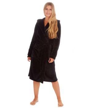 34B1681, Ladies Plush Fleece Hooded Robe- Black £12.50.   pk18...
