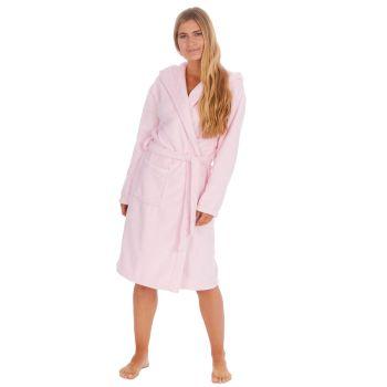 34B1682, Ladies Plush Fleece Hooded Robe- Pink £12.50.   pk18...