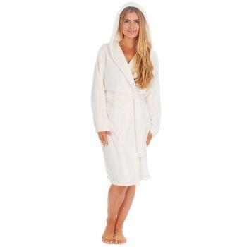 34B1683, Ladies Plush Fleece Hooded Robe- Cream £12.50.   pk18...