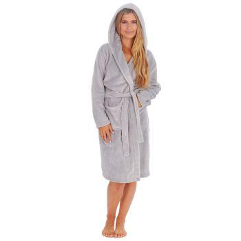 34B1684, Ladies Plush Fleece Hooded Robe- Grey £12.50.   pk18...