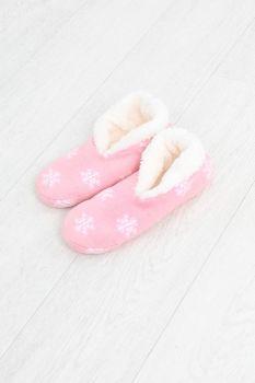 LSF-468SNOWFLAKE, Ladies Xmas Snowflake Slipper Socks Pink £2.95.   pk12....