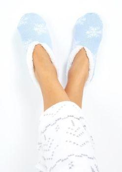 LSF-468SNOWFLAKE, Ladies Xmas Snowflake Slipper Socks Blue £2.95.   pk40....