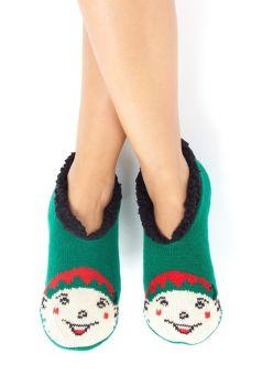 LSF-468ANNIEELF, Ladies Xmas Slipper Socks Elf £2.95.  pk40....