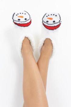 LSF-468SNOWMAN, Ladies Xmas Slipper Socks Snowman £2.95.  pk40....