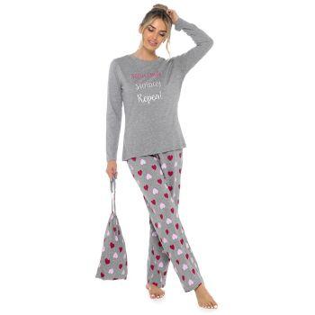 LN1410, Ladies Heart Print Pyjama Set £8.75.   pk24...