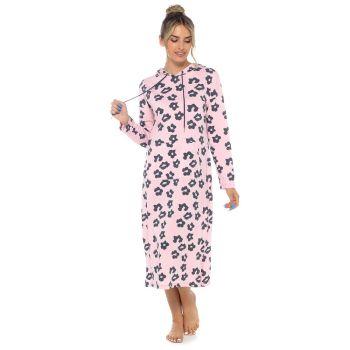 LN1424, Ladies Jersey Hooded Lounge Nightie Pink £7.30.  pk24...