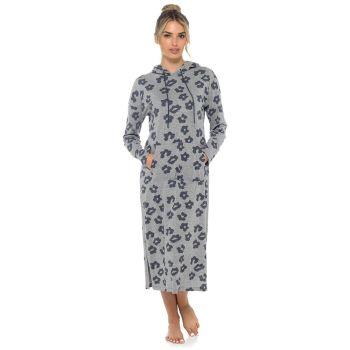 LN1425, Ladies Jersey Hooded Lounge Nightie Grey £7.30.  pk24...