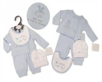 PB382S, Premature Baby Boys 4 Pieces Set - Hello World (Leggins, Top, Hat, Bib) £5.50.   PK6..