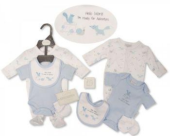 PB381S, Premature Baby Boys 4 Pieces Set - Hello World (Sleepsuit, Bodyvest, Bib, Mittens) £6.40.  PK6..