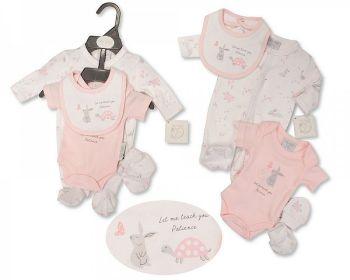 PB381P, Premature Baby Girls 4 Pieces Set - Patience (Sleepsuit, Bodyvest, Bib, Mittens) £6.40.  PK6..