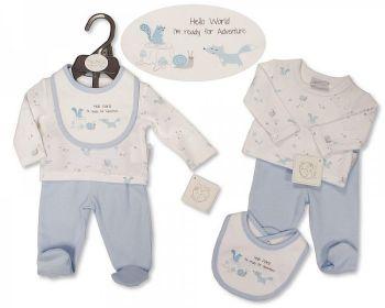 PB379S, Premature Baby Boys 3 Pieces Set - Hello World (Leggings, Top, Bib) £5.05.  PK6...