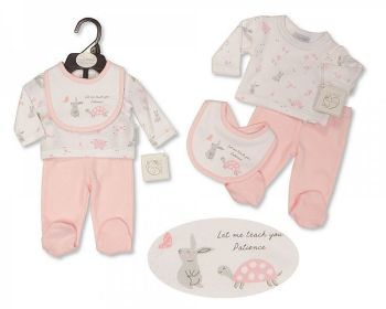 PB379P, Premature Baby Girls 3 Pieces Set - Patience (Leggings, Top, Bib) £5.05.  PK6..