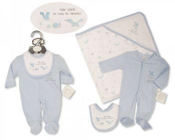 PB378S, Premature Baby Boys 3 Pieces Set - Hello World (Sleepsuit, Bib, Hooded Towel) £7.35.  PK6..