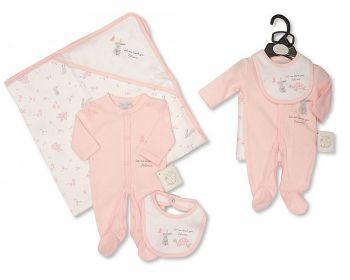 PB378P, Premature Baby Girls 3 Pieces Set - Patience (Sleepsuit, Bib, Hooded Towel) £7.35.  PK6..