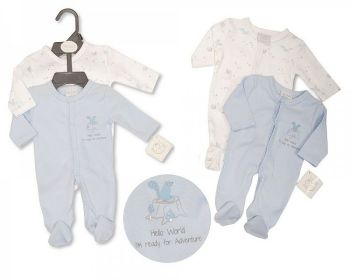 PB377S, Premature Baby Boys Sleepsuit 2-Pack - Hello World £6.05.   6PKS...