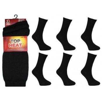 RH8752, Mens Thermal Socks - Black.  1 dozen...