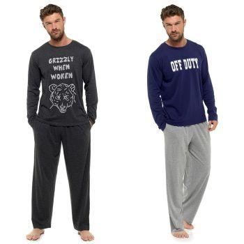 HT086, Mens Jersey Slogan Print Pyjama £7.95.  pk36...