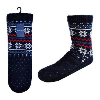 SK060A, Mens Fairisle Slipper Socks £3.75.  pk48....