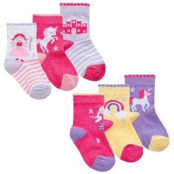 44B943, Baby Girls 3 in a pack Cotton Rich Design Socks £1.35.   24pks...