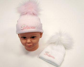 BW0609, Baby Girls Pom-Pom Hat - Princess £4.95.  PK6...