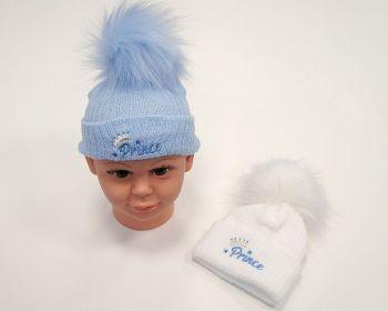BW0608, Baby Boys Pom-Pom Hat - Prince £4.95.  PK6...