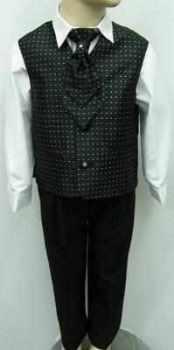 Code:110, Boys stylish black waistcoat suit with a cravat....