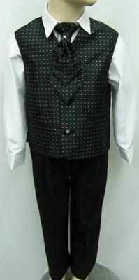 (C), Code:110, Boys stylish black waistcoat suit with a cravat....