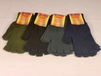 GLA137, Mens thermal fingerless glove in assorted colours, 1 dozen...