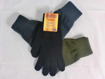 GLA135, Mens thermal gloves in assorted colours £0.58.  pk12..